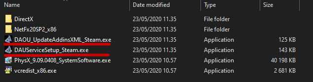 Location of files in the Redist folder.